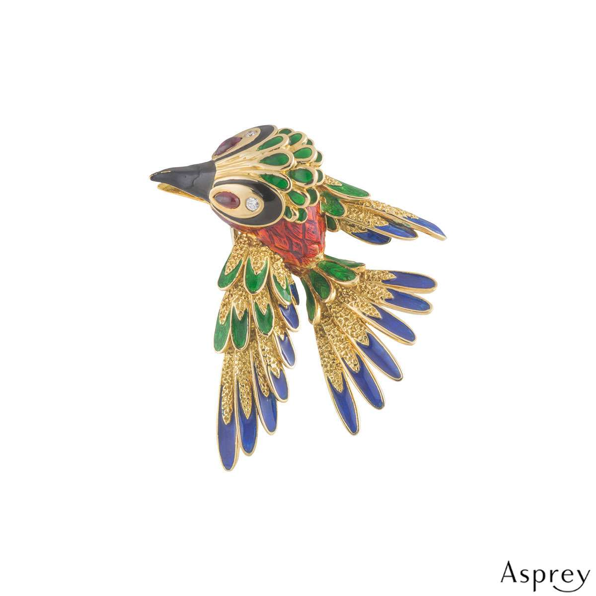 Asprey Yellow Gold Diamond, Ruby and Enamel Woodpecker Brooch